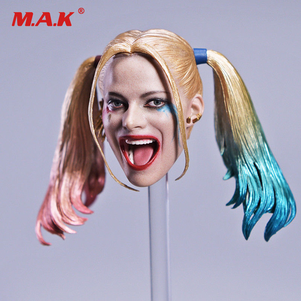 1/6 Scale Female Joker Harley Quinn Head Carving with Changeable Hair Movable Head Carved for 12 Action Figure Body <br>