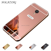 "HOLAZING 2 in 1 Detachable Metal Aluminum Bumper Frame Case for Meizu M5 5.2"" with Mirror Back Hard Cover"