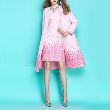 2018 Spring Autumn OL Ladies Delicate Pink Flower Jacquard Long Trench Coat Slim Overcoat + Slim Dress Twinset Women Dress Suit(China)