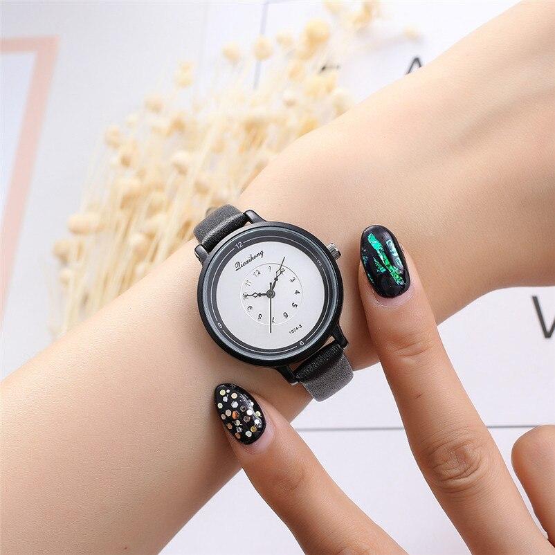 2018 High Quality women fashion casual watch luxury dress ladies Leather Band Analog Quartz Wrist Watch Clock relogio J13#N (2)