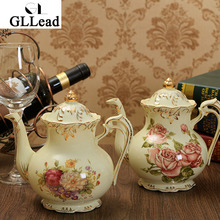 GLLead European Style Luxury Ivory Porcelain Teapot Top Quality Ceramic Kettle Coffee Pot Fashion Drinkware
