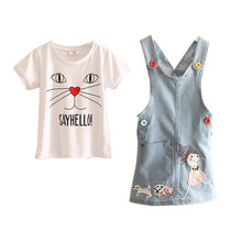 LittleSpring Character Cartoon Printed  Short Sleeve Round Neck Two Pieces Children's Outfit girls summer sets baby girl clothes