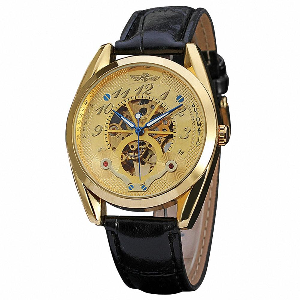 Luxury Vintage Men Automatic Mechanical Wrist Watch Leather Strap Golden Skeleton Watch Blue Hand Classic Self-wind + GIFT BOX<br><br>Aliexpress