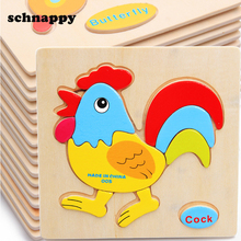 Kids Animals Wooden Puzzle Baby Educational Toys Games Picture Jigsaw Puzzles Toys For Children Gifts juguetes educativos(China)