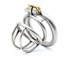 Buy New Lock Stainless Steel Male Chastity Device Cock Cage Penis Virginity lock Cock Ring Sex Toy Adult Game Chastity Belt A231-1