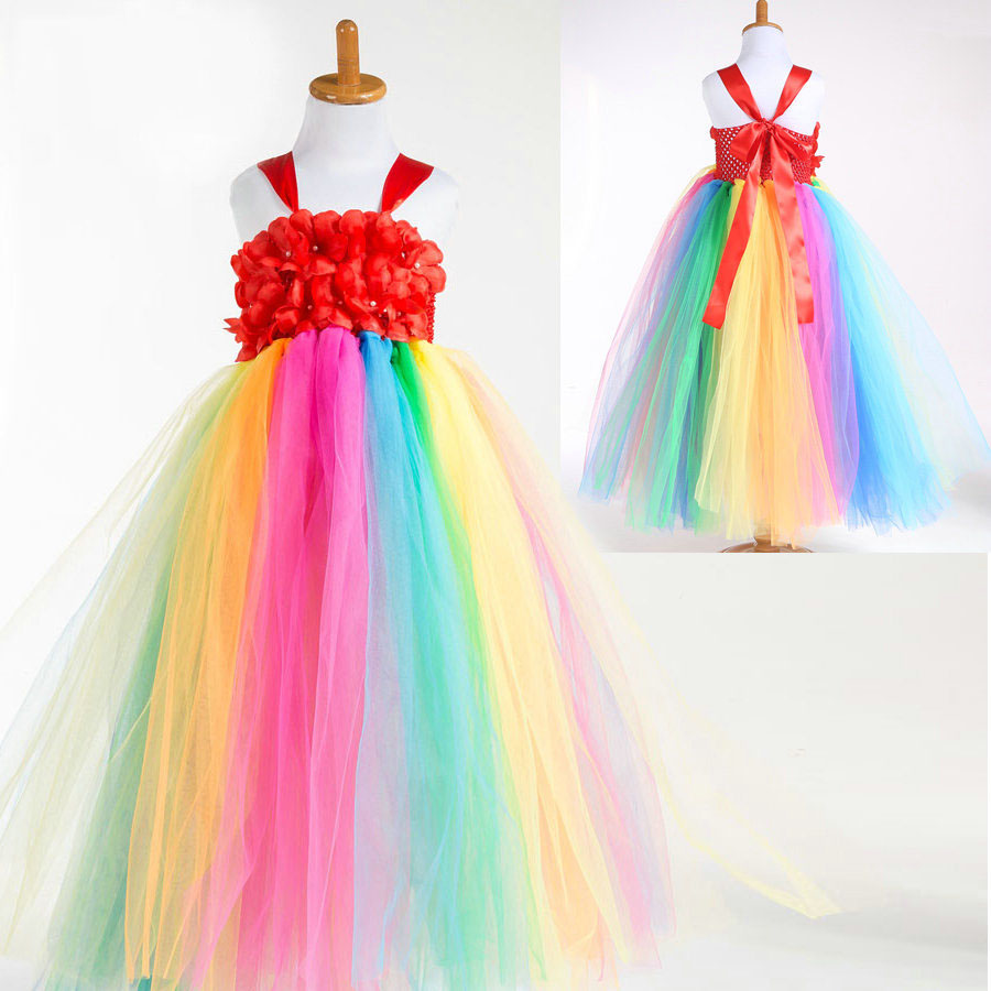 Fashion 3d flower long frock designs girls tutu tulle rainbow ball gown for birthday party<br><br>Aliexpress