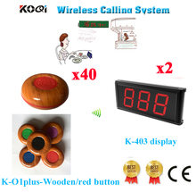 Wireless Table Bell System Wireless Service Waiter Button Call Bell Full Equipment 433.92MHZ(2 Display+40 Call Button)(China)