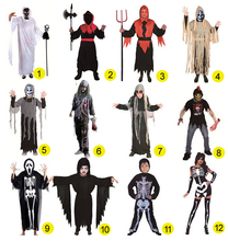 Adult men Children kid halloween party cosplay skull devil ghost ghoul costumes with Skeleton printing zombie Mummy clothes