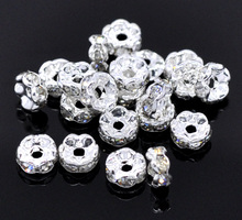 MJARTORIA 30PCs Rhinestone Rondelles Spacer Beads Fit Women Needlework DIY Bracelets Fashion Beads For Jewelry Making