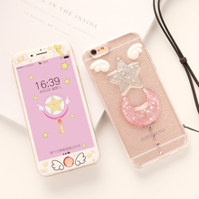 Buy CardCaptor Sakura Clear bing case iphone 7 7plus /8 plus /6 6splus transparent back case screen protector film Angel wings for $7.59 in AliExpress store