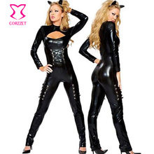 Lace Up And Back Zipper Black PVC Catsuit Erotic Sexy Bodysuit Leather Jumpsuit Adult Catwoman Costume Cat Costumes For Women