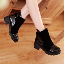 Fashion flat with round toe and hook ankle buckle boots coat of paint solid women's martin boot