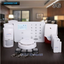 HOMSECUR Wireless WCDMA 3G LCD Burglar Intruder Alarm System With Smoke Detector(China)