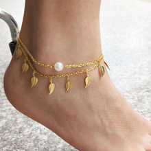 SUSENSTONE Vintage Anklets For Women Fashion Anklet Gold  Leaf Peal Decoration Bracelet Beach Foot Jewelry#12