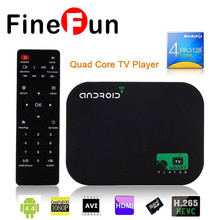 FineFun Hot New 8GB Quad Core Android Smart TV BOX 1080P Media Player WIFI HDD player + Remote Control Free shipping #A1456