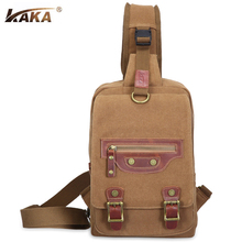 2017 KAKA Brand Designer Vintage Men Messenger Bags Cross Body Shoulder Bags Chest Bags Packs Canvas Big Capacity High Quality(China)