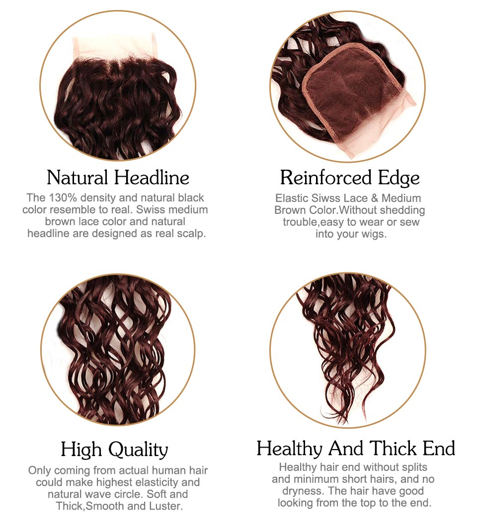 Brazilian Water Wave Hair Burgundy 4 Bundles With Closure Wet Wavy Pinshair Pre-Colored Dark Red Human Hair With Closure NonRemy (2)