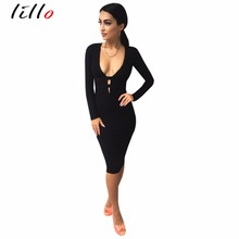Black long-sleeved deep Vbandage tight dress Hollow V-neck Tight sexy fashion nightclub dress business attire Wild paragraph(China)