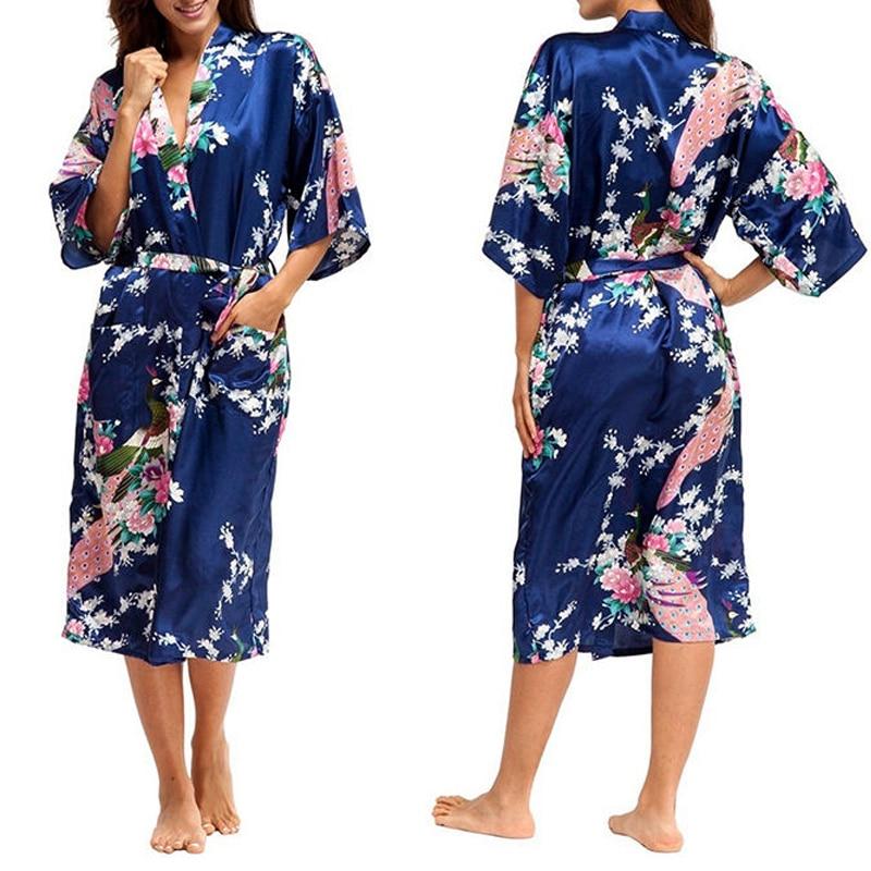 Ladies Sexy Silk Satin Long Robe Night Dress Woman Long Sleeve Nighties V-Neck Nightgown Robes Nightdress Sleepwear For Women