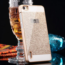 For Capas Huawei P9 P9 lite Glitter Cases Gold Fundas Bling Shinning Glitter Back Cover Coque For Huawei P8 Lite Sparkling Case(China)