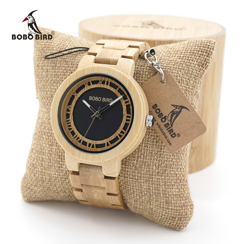 BOBO BIRD Wooden watches men Handmade Round Vintage Bamboo Analog Unique Quartz Wristwatch Dress watch In Wood Box<br>