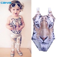 Baby Girls 3D Swimsuit Tiger Design One piece Girls Swimwear 1-6Yrs Infant Toddler Girls Swimming Suit Beach Swimwear Bathsuit