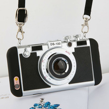 Fashion Cool 3D Retro Camera Phone Cases For iPhone 7 6 6s Plus 5 5s SE Case High Quality Soft Silicone Back Cover With Lanyard(China)