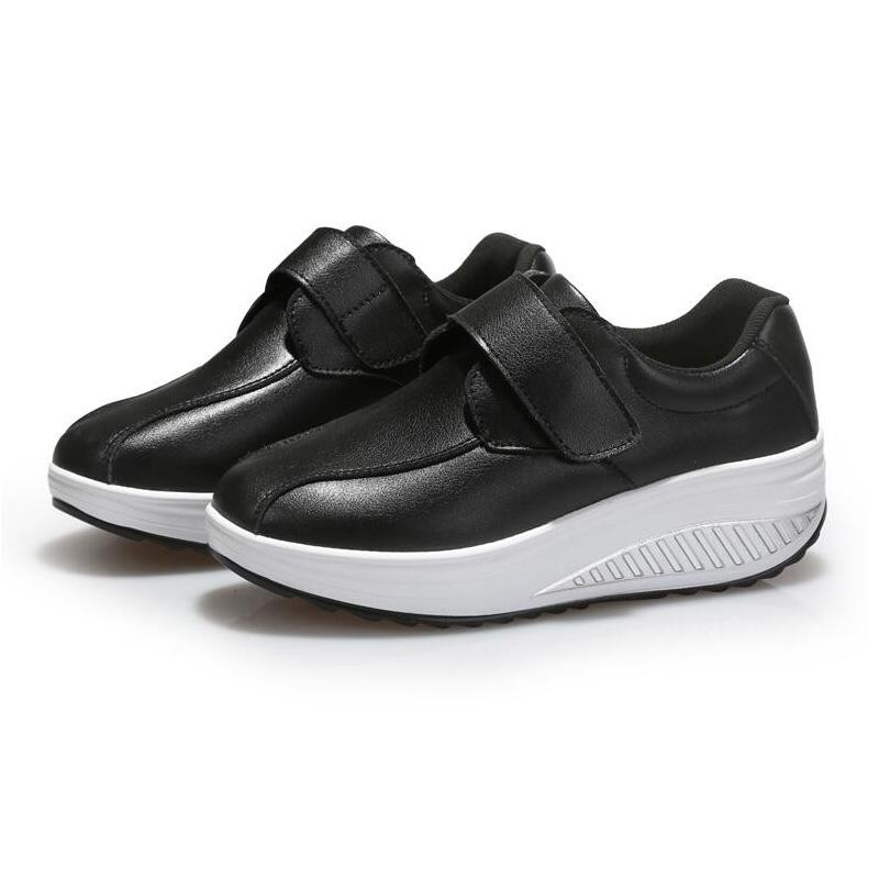 2017 Slimming Shoes Women Genuine Leather Fashion Leather Casual Shoe Patchwork Fitness Lady Swing Shoes Autumn Shoes Woman<br>