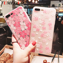 TUMI.OVO Fashion Floral Painted 3D Relief Rose Flower Phone Cases For iPhone 6 6S 7 Plus Case Matte Soft TPU Back Cover Coque(China)