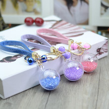 2017 new trinket Keychain pompons flower keychains fur Keychain fluffy key chains for cars keyrings trinkets pom pom keychain(China)