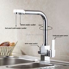 Free shipping Drink Water Faucet Kitchen Sink Mixer Tap Chrome Brass Taps Dual Handle Water Crane Dual Spout Faucet ZR646