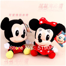 Free Shipping 20cm Lovely Mickey Mouse And Minnie Stuffed Animal Toys,6piece/lot 3 Mickey Plush Toys And 3 Minnie Plush Toys