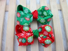3inch Christmas Ribbon Hair Ribbon Bows without Clip for Christmas Party Decoration Boutique Hair Bow Christmas 28pcs/ltot Free