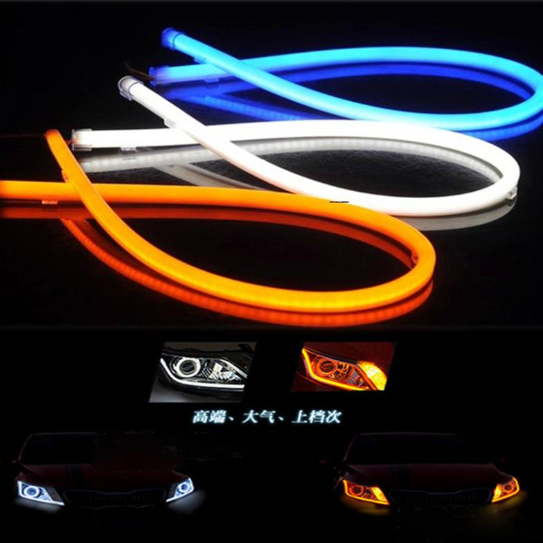 2X60CM Automotive LED Color daytime running lights Light guide strip daytime running lights  White with yellow, blue and red<br><br>Aliexpress