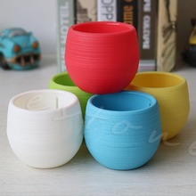 Colourful Mini Round Plastic Plant Flower Pot Garden Home Office Decor Planter