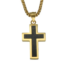 HIP Gold Color Carbon Fiber Inlaid Cross Necklaces Trendy Stainless Steel Prayer Cross Pendants for Men Christian Jewelry(China)
