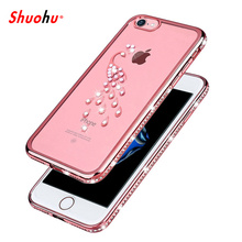 Shuohu Glitter Rhinestone Cases for Iphone 6 6S 7 Plus Case Luxury Diamond Silicone Funda for Iphone 5 5S SE Case TPU Cover(China)