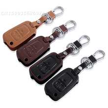 New Car Styling Genuine Leather Key Cover For Chevrolet Cruze Camaro Equinox Malibu Sonic Spark Volt Remote Fob 3 Button(China)