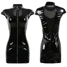 2016 New Black Vinyl PVC Dress Gothic Summer Style Corset Mesh Patchwork Faux Leather Punk Fetish Zipper Dresses Plus Size S-XXL
