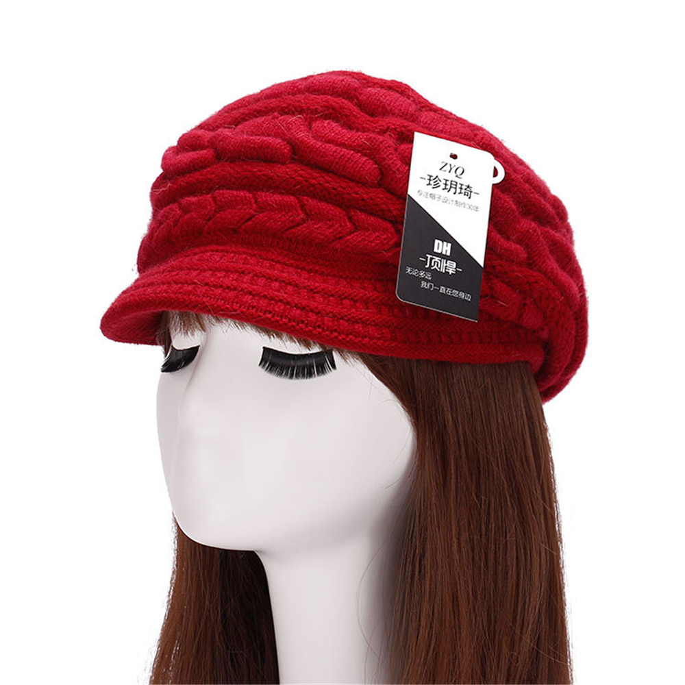 New Arrival Knitted Hat Cap Solid Color Warm Thicken Beanie Skullies For Girl Bonnet High Quality novelty winter hats red gray(China (Mainland))