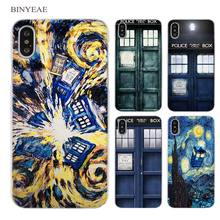 BINYEAE Tardis Box Doctor Who Clear Cell Phone Case Cover for Apple iPhone X 6 6s 7 8 Plus 4 4s 5 5s SE 5c(China)