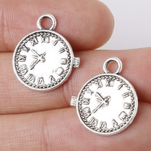 10pcs 16x19mm Zinc Alloy Antique Silver Round Clock Watch DIY Charms Pendants Decoration For DIY Handmade Jewelry Bracelet