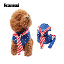 Gomaomi American Flag Pet Collar Leads Dog Harness with Sailor Tie(China)