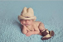 Free Shipping Cute Handmade Newborn Baby Crochet Western Cowboy Hat with boots Photo Photography Props