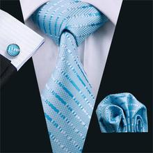 FA-703 Ties For Men Blue Striped Silk Classic Jacquard Woven Tie Hanky Cufflinks Set For Business Wedding Party Free Shipping(China)