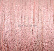 Free Shipp Metallic Pinkn  3mm  10mters Flat Faux Suede Leather  Cord  for Jewellery Making and Crafts Beads