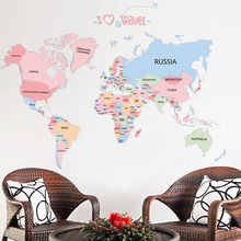 Animal World Map Wall Sticker Cute Kids Bedroom Mural Living Room PVC Children Room Decal