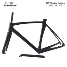 Smileteam 2018 New T800 Full Carbon Disc Brake Road Bike Frame Chinese Factory Cyclocross Carbon Frameset With Fork Seatpost(China)