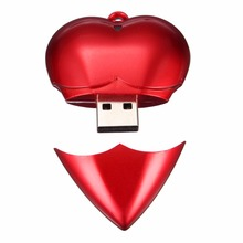 free shipping Genuine Simple red heart Design plastic Flash Pendrive Stick 64 gb memory stick