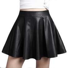 Buy Women Fashion Faux Pu Leather Pleated Skirt Jupe Femme Women's High Waist Black Skirt Tutu Autumn Winter 2017 Mini Skirt SKT038 for $15.65 in AliExpress store